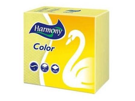 Harmony Ubrousky 1-vrstvé žluté 50ks