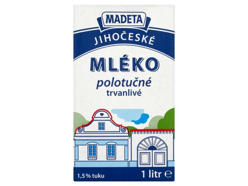 Madeta Jihočeské trvanlivé mléko polotučné 1,5% 1l