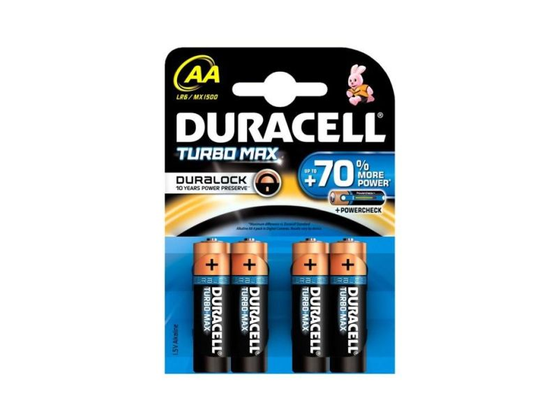Baterie alkalická Duracell Turbo Max AA, LR6/MX1500, 4ks