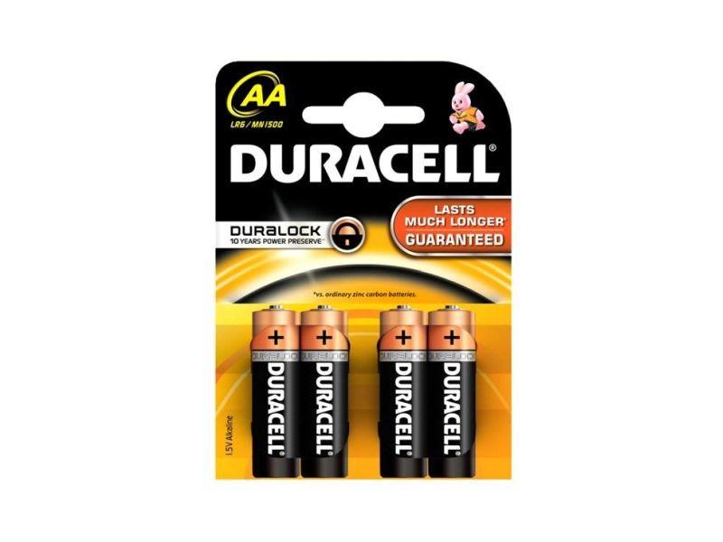 Baterie alkalická Duracell Basic AA, LR6/MN1500, 4ks