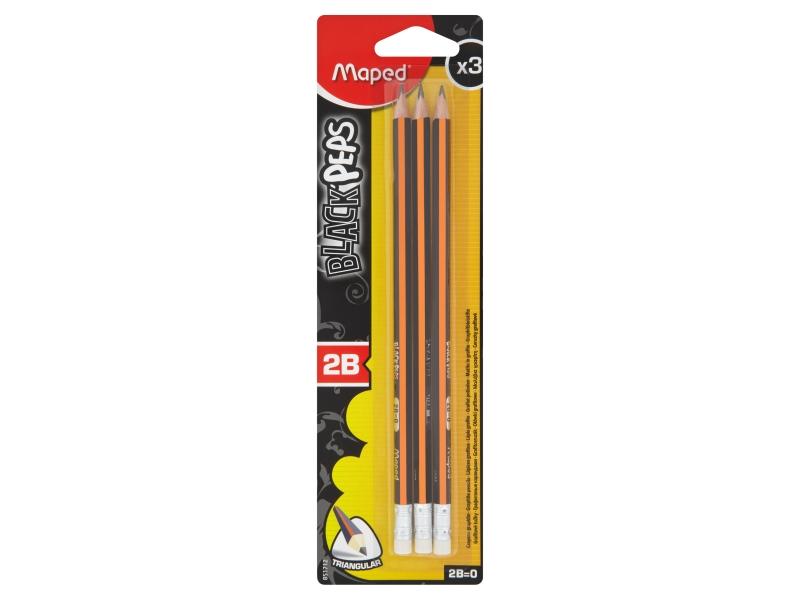 Maped Black´Peps Grafitová tužka 2B s pryží 3 ks