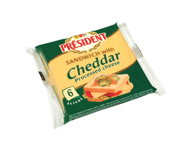 Président Sandwich Cheddar Tavený sýr, plátky 120g