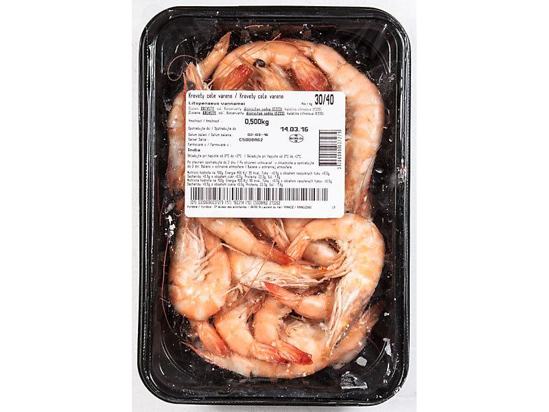 Krevety celé vařené 30/40 500g
