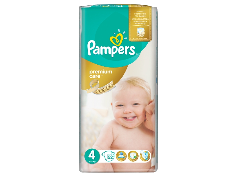 Pampers Premium Care Velikost 4 (Maxi) 8 – 14 kg, 52 Kusů