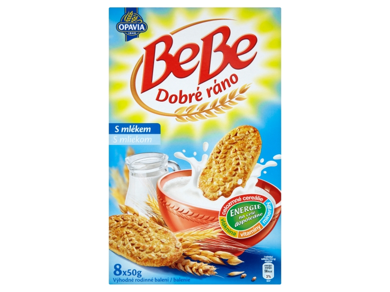 Opavia BeBe Dobré ráno cereální sušenky s mlékem 400g