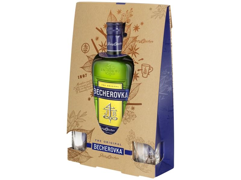 Becherovka Original Likér 38%, 700ml + skleničky 2ks