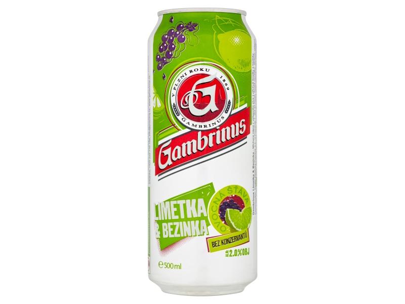 Gambrinus Limetka & bezinka míchaný nápoj z piva 500ml, plech