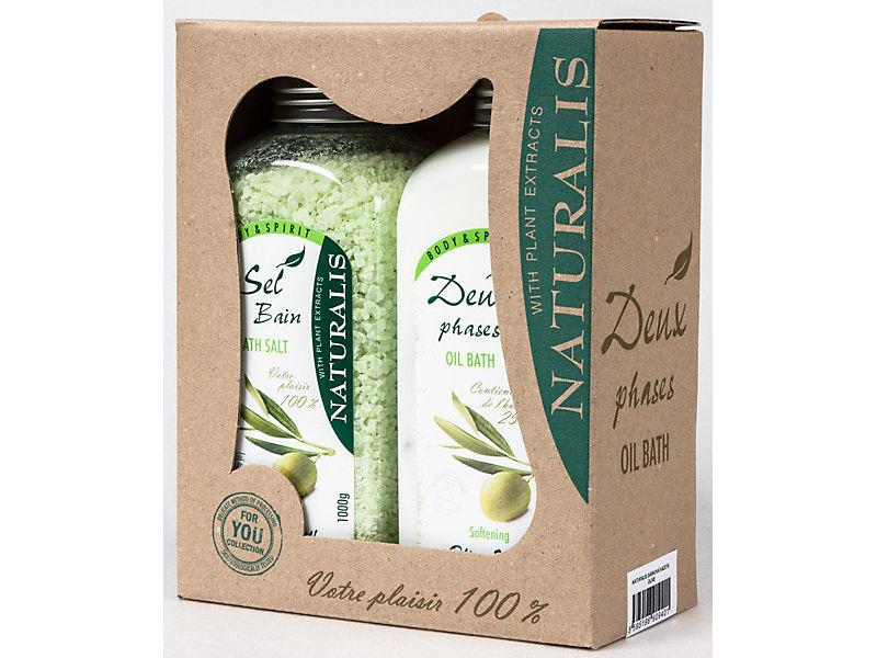 Kazeta Naturalis Olive milk Mořská sůl + koupelová pěna