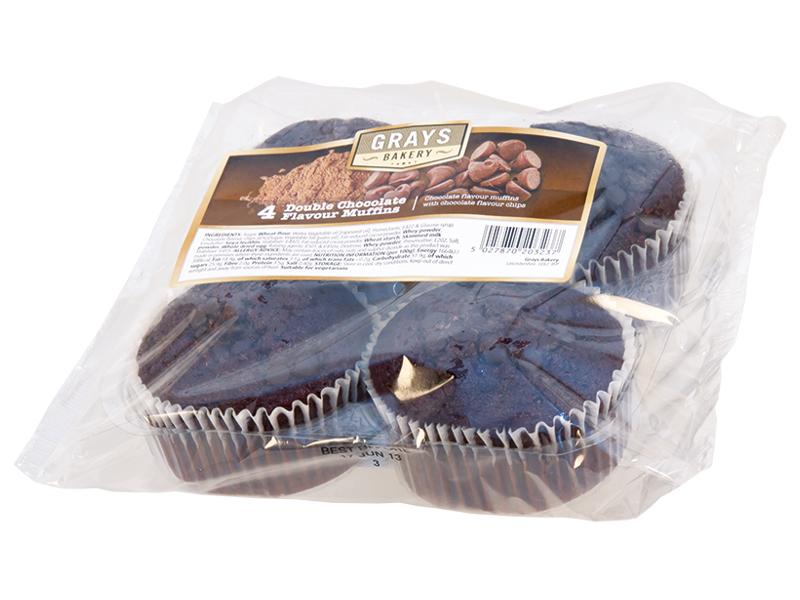 GRAYS Muffiny Double s čokoládovými kousky 4x75g