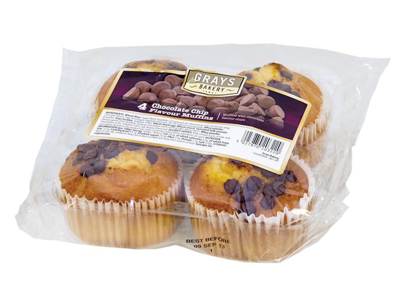 GRAYS Muffiny s kousky čokolády 4x80g