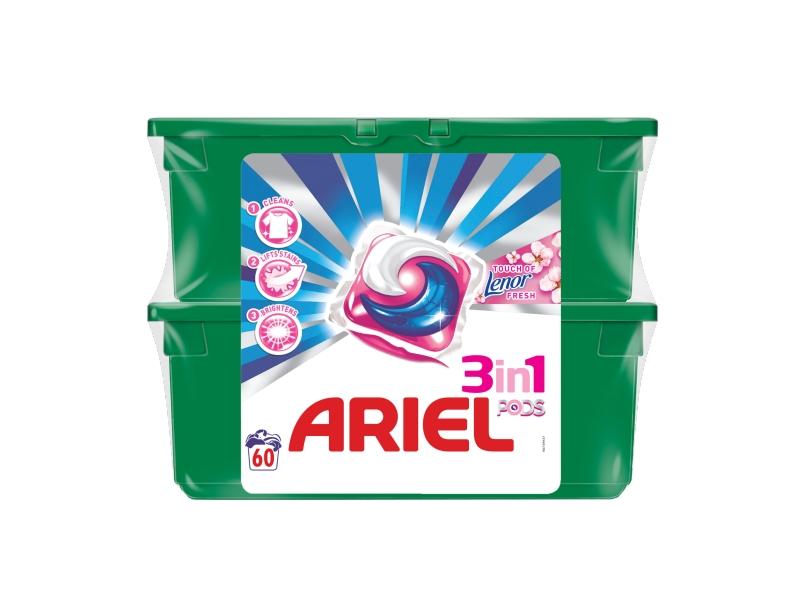 Ariel 3v1 Touch of Lenor Fresh Gelové Kapsle Na Praní Prádla, 2x30ks