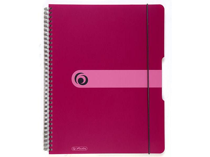 Blok spirálový Herlitz A4 80 listů čtverečkovaný tmavě růžový