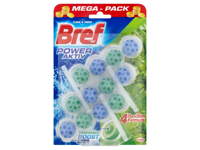 Bref Power Activ Fragrance Boost Pine tuhý WC blok 3x50g