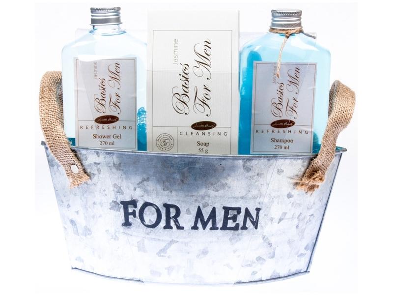 Dárkový košík Basics for Men sprchový gel, šampon, mýdlo, houba