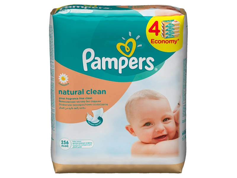 Pampers Natural Clean Vlhčené Ubrousky 4x64 ks