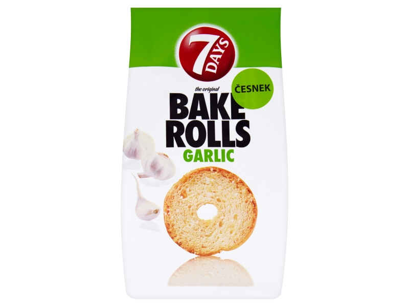 7Days Bake Rolls Křupavé chipsy s příchutí česneku 80g