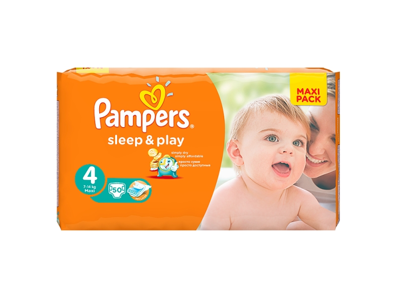 Pampers Sleep & Play Velikost 4 (Maxi), 50 Plenek