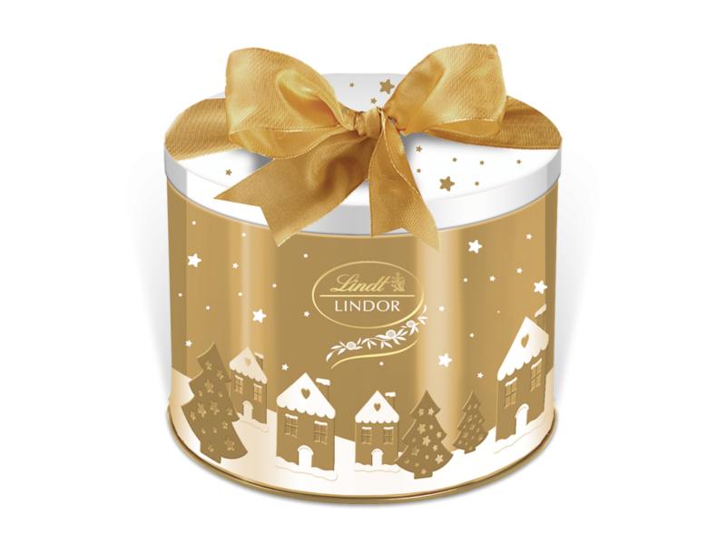 Lindt Lindor Vánoční plechovka zlatá Směs příchutí 150g