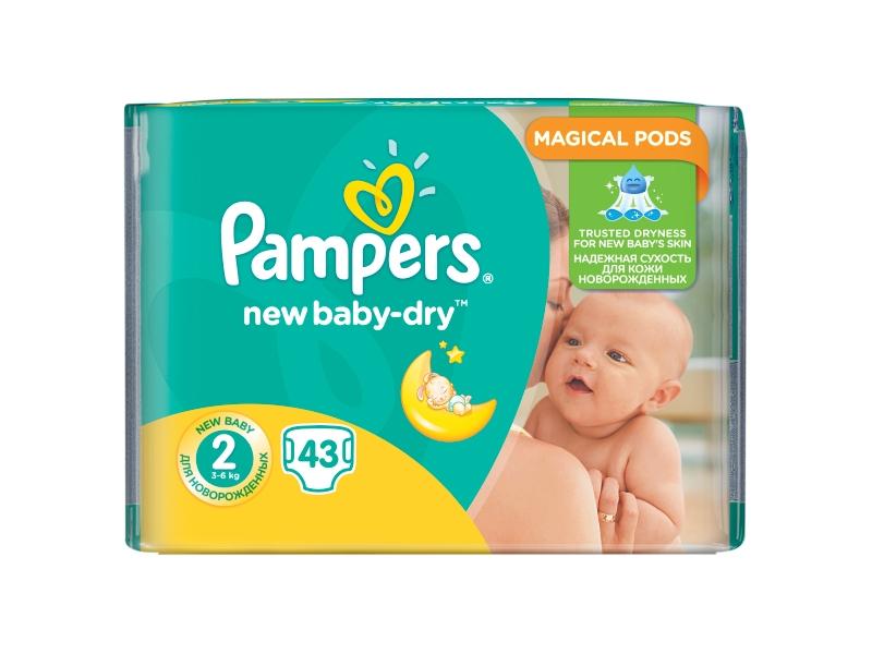 Pampers New Baby-Dry Dětské Plenky Velikost 2 (Mini), 43 ks