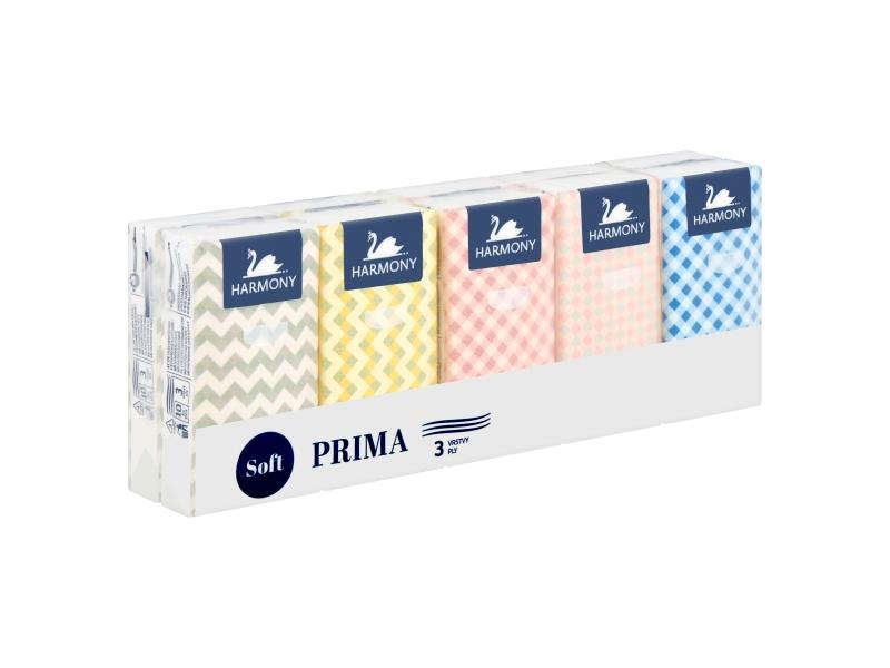 Harmony Soft Prima papírové kapesníky 3 vrstvy 10 x 10 ks