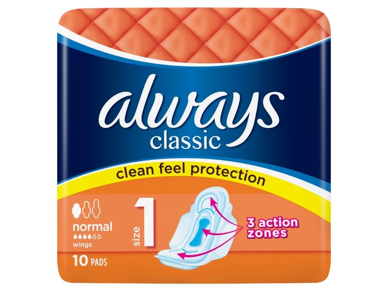 Always Classic Normal Hygienické Vložky S Křidélky 10ks