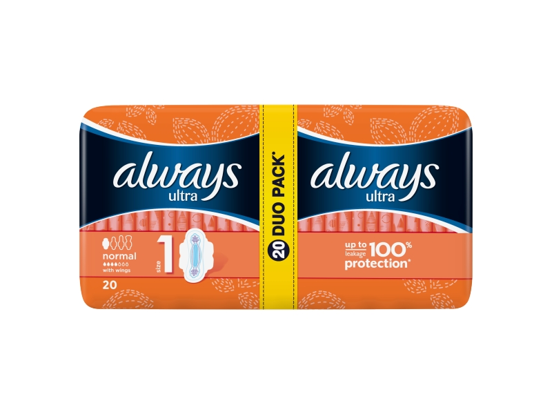 Always Ultra Normal Vel. 1 Hygienické Vložky S Křidélky 20ks