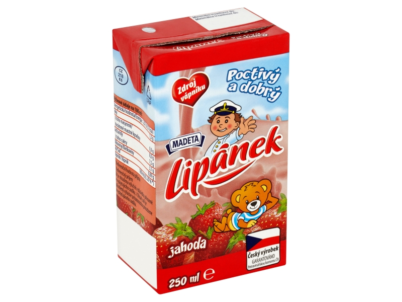 Madeta Lipánek Mléko trvanlivé jahoda 250ml