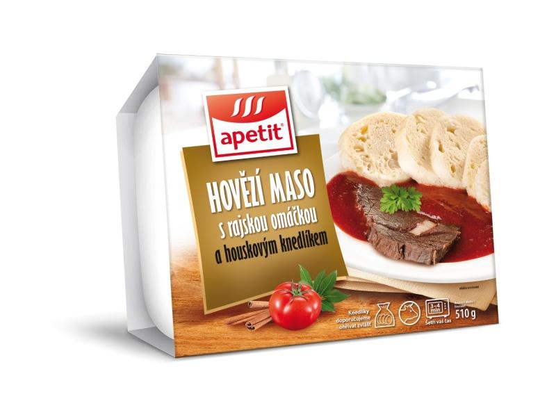Apetit Hovězí maso s rajskou omáčkou a houskovým knedlíkem 510g