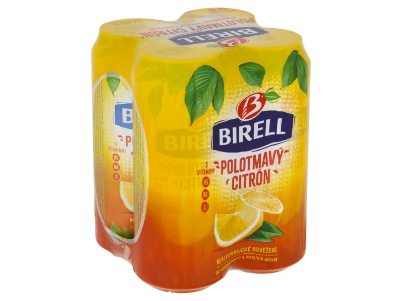 Birell Polotmavý Citron nealko pivo 4x500ml plech
