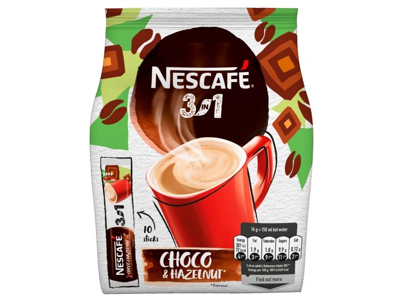 NESCAFÉ 3in1 Choco Hazelnut, instantní káva, 10 sáčků x 16g (160g)