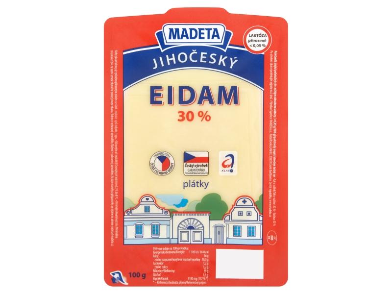 Madeta Jihočeský eidam 30%, plátky 100g