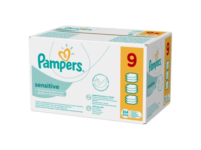 Pampers Sensitive Dětské čistící ubrousky 9x56 ks
