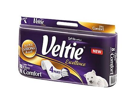 Veltie Excellence Toaletní papír bílý 4-vrstvý 8ks