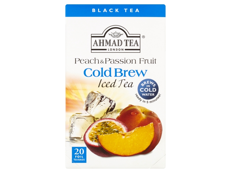 Ahmad Tea Cold Brew Peach & Passion Fruit Černý čaj, 20x2g
