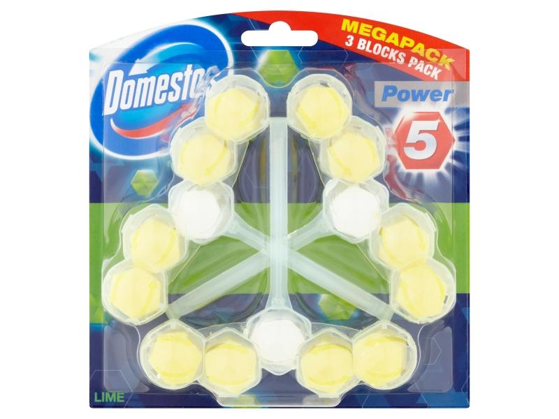 Domestos Power 5 Lime tuhý WC blok 3x55g