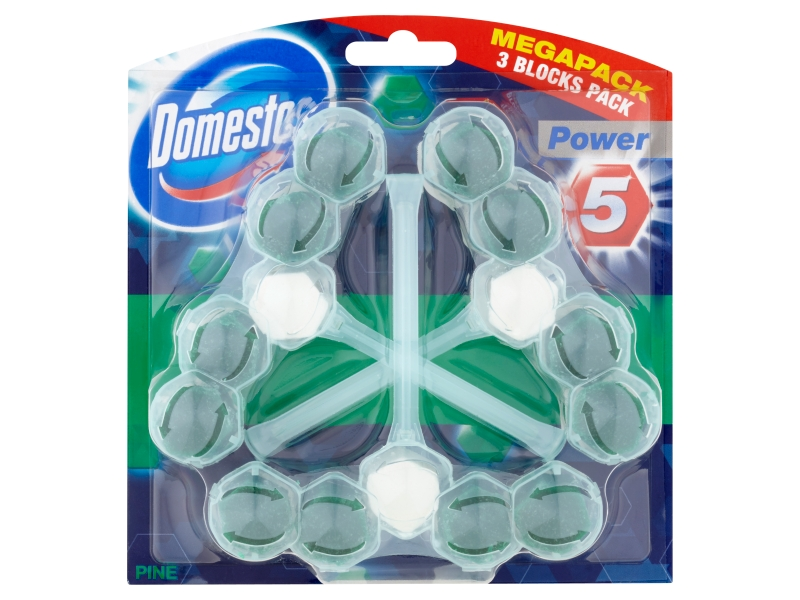 Domestos Power 5 Pine tuhý WC blok 3x55g