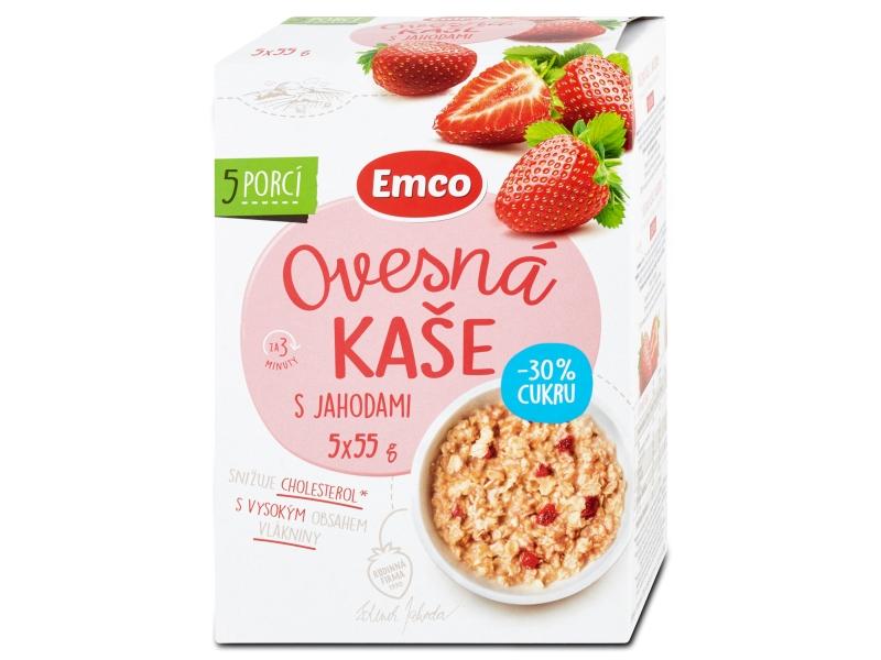 Emco Ovesná kaše s jahodami o 30% méně cukru 5x55g