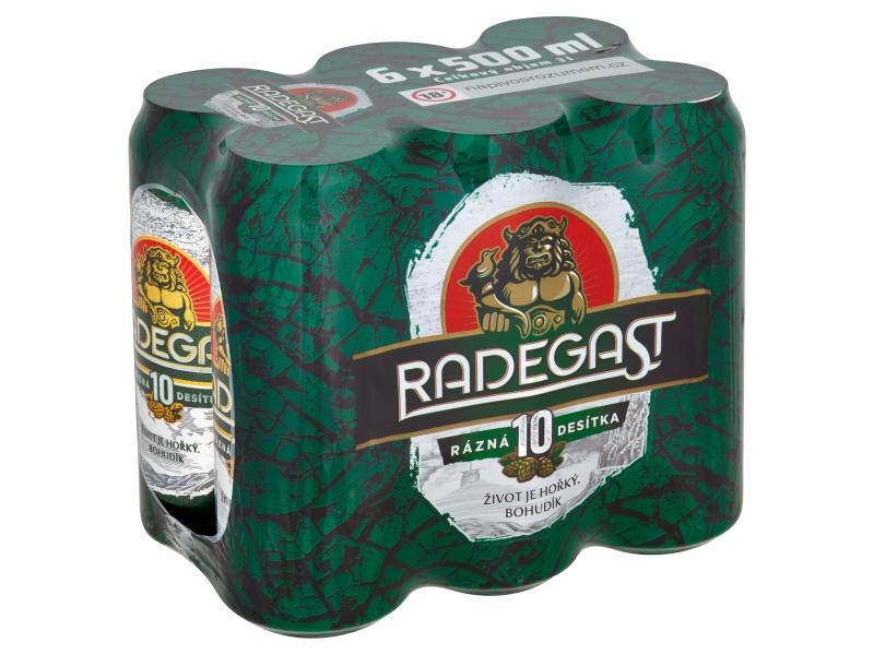 Radegast Rázná 10 pivo výčepní světlé 6x500ml, plech
