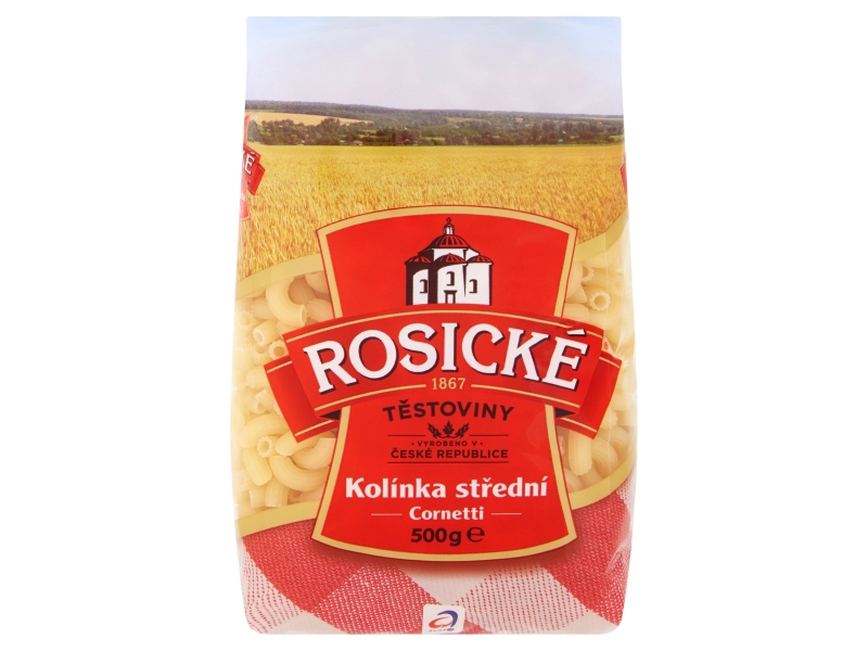 Rosické Těstoviny Cornetti kolínka střední bezvaječné 500g