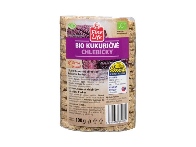 Fine Life Kukuřičné chlebíčky celozrnné BIO 100g