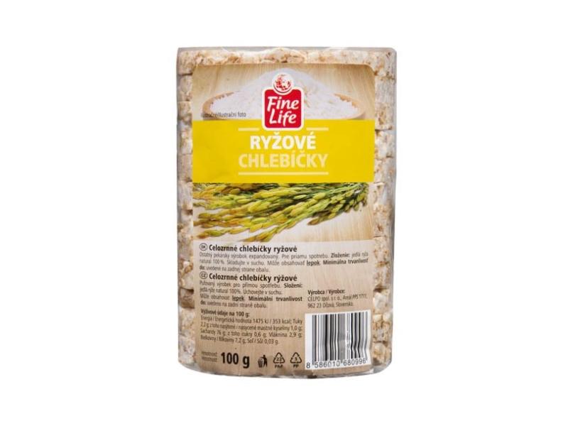 Fine Life Rýžové chlebíčky 100% natural celozrnné 100g