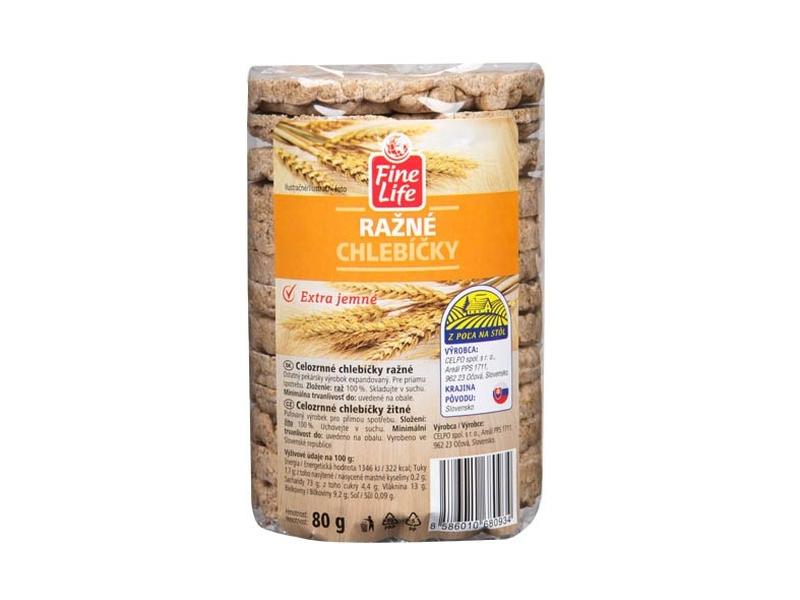 Fine Life Žitné chlebíčky 100% natural celozrnné 80g