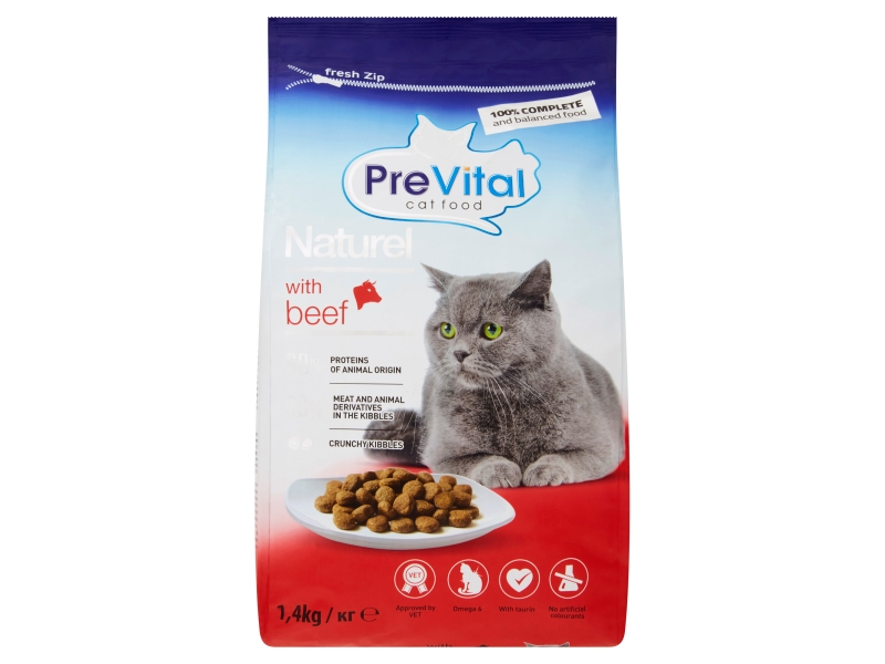 PreVital Naturel Kompletní krmivo pro dospělé kočky s hovězím 1,4kg