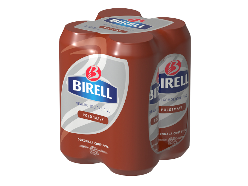 Birell Polotmavý nealkoholické pivo 4x500ml, plech