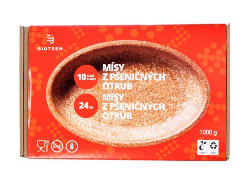 BIOTREM Miska oválná z pšeničných otrub 24cm, 10ks