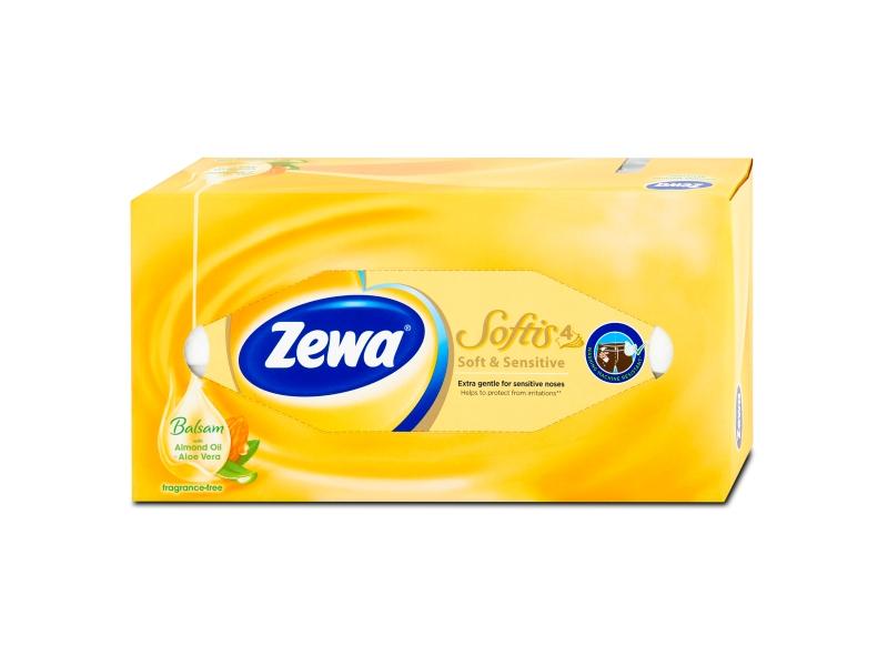 Zewa Softis Soft & Sensitive papírové kapesníčky 4-vrstvé 80 ks, box