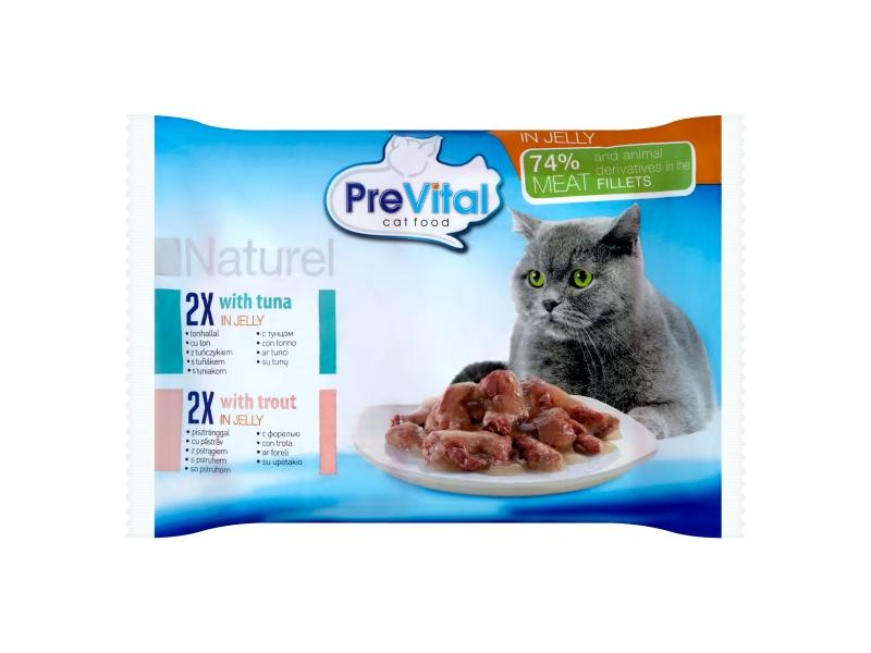 PreVital Naturel Kompletní krmivo pro dospělé kočky, 4 x 85g