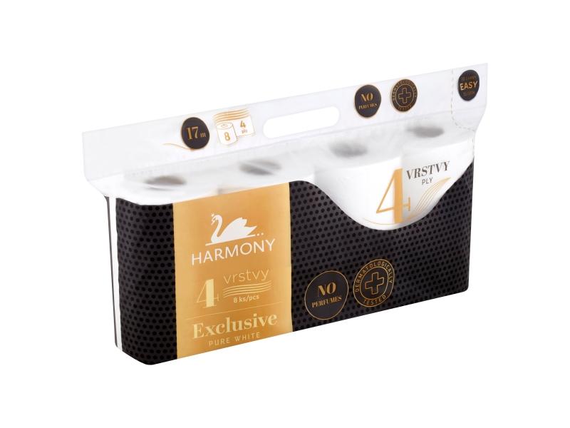 Harmony Exclusive Pure White toaletní papír 4 vrstvy 8 ks