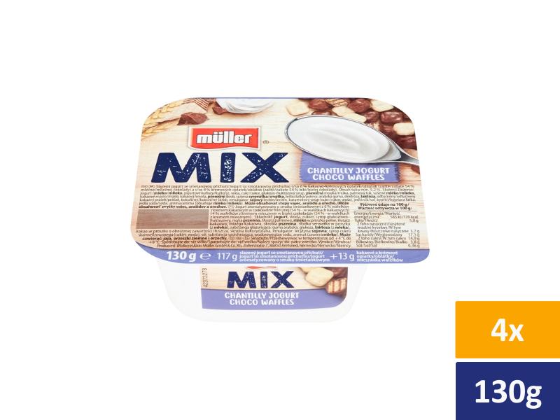 Müller Mix Choco Waffles slazený jogurt se smetanovou příchutí, 4 x 130g