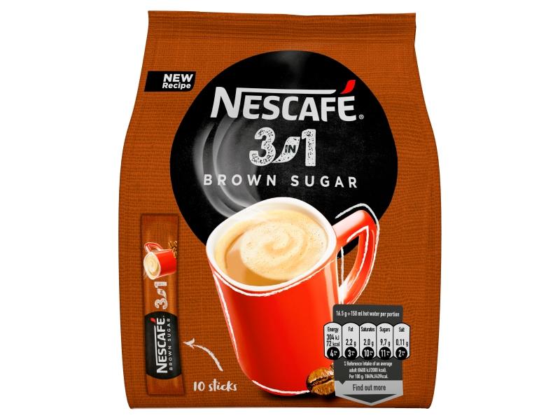 NESCAFÉ 3in1 Brown Sugar, instantní káva, 10 sáčků x 16,5g (165g)